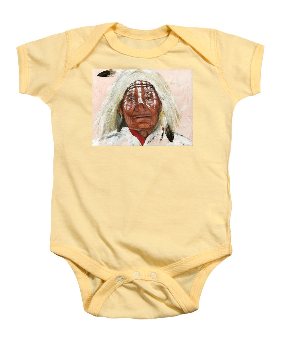 Southwest Art Baby Onesie featuring the painting Ghost Shaman by J W Baker