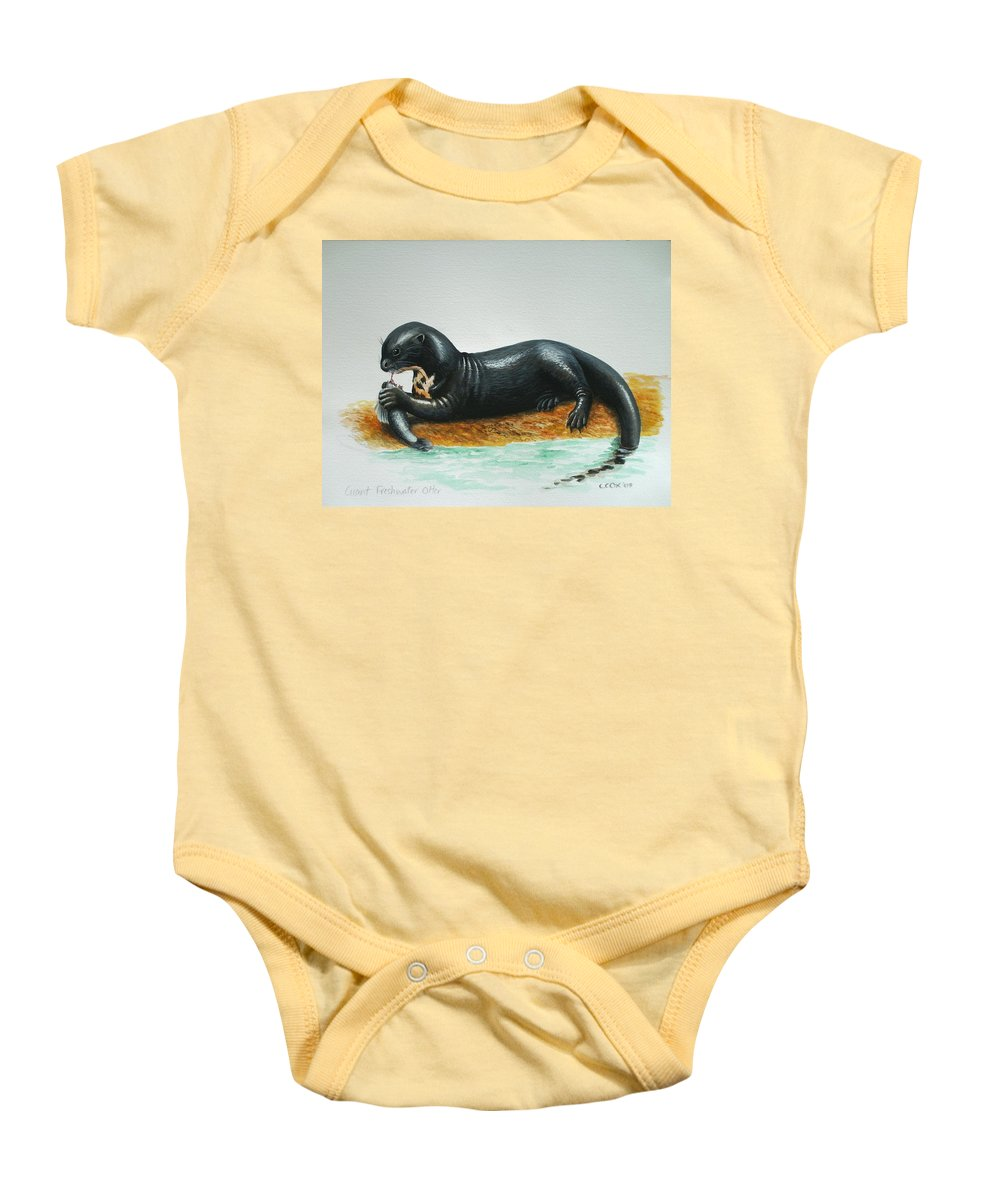 Giant River Otter Baby Onesie featuring the painting Giant River Otter by Christopher Cox