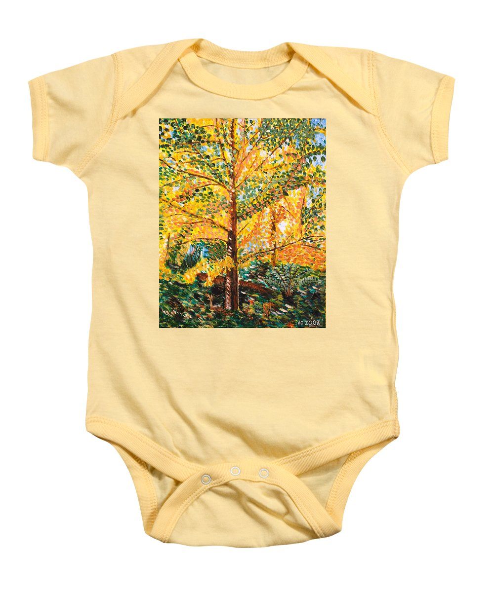 Tree Baby Onesie featuring the painting Gingko Tree by Valerie Ornstein