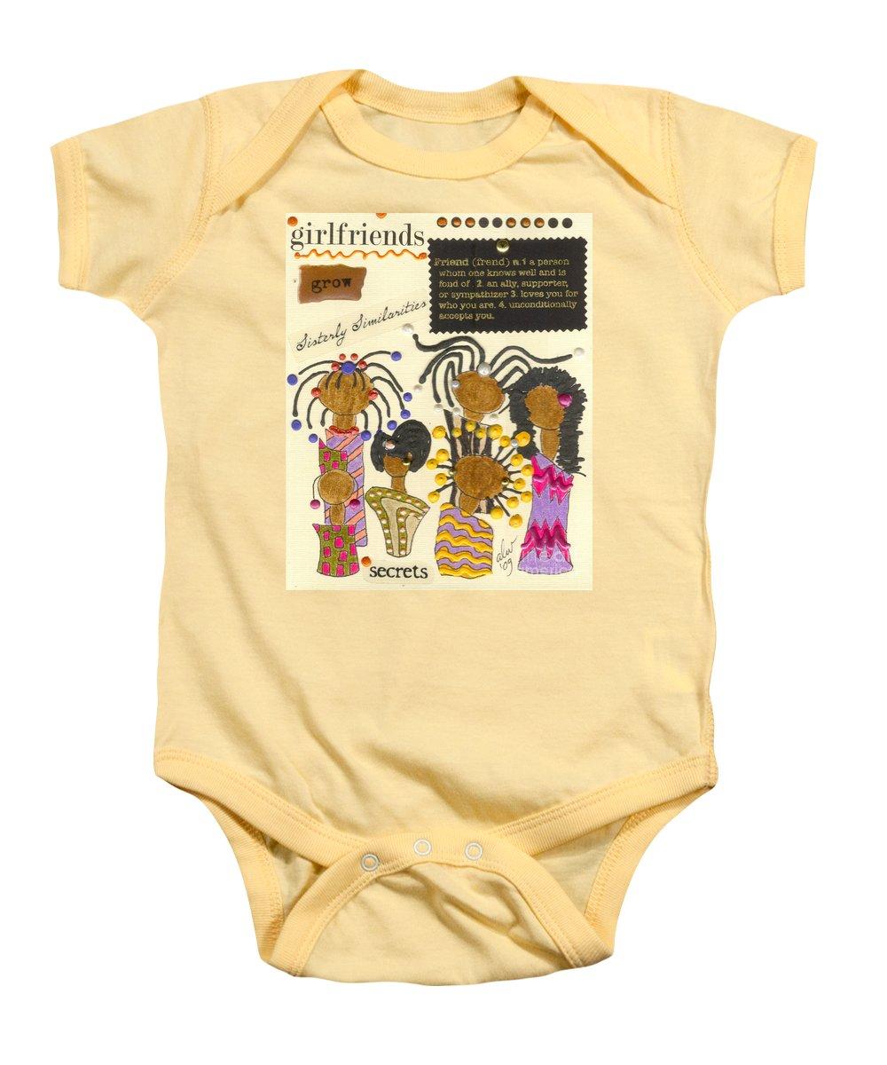 Understanding Baby Onesie featuring the mixed media Girlfriends by Angela L Walker