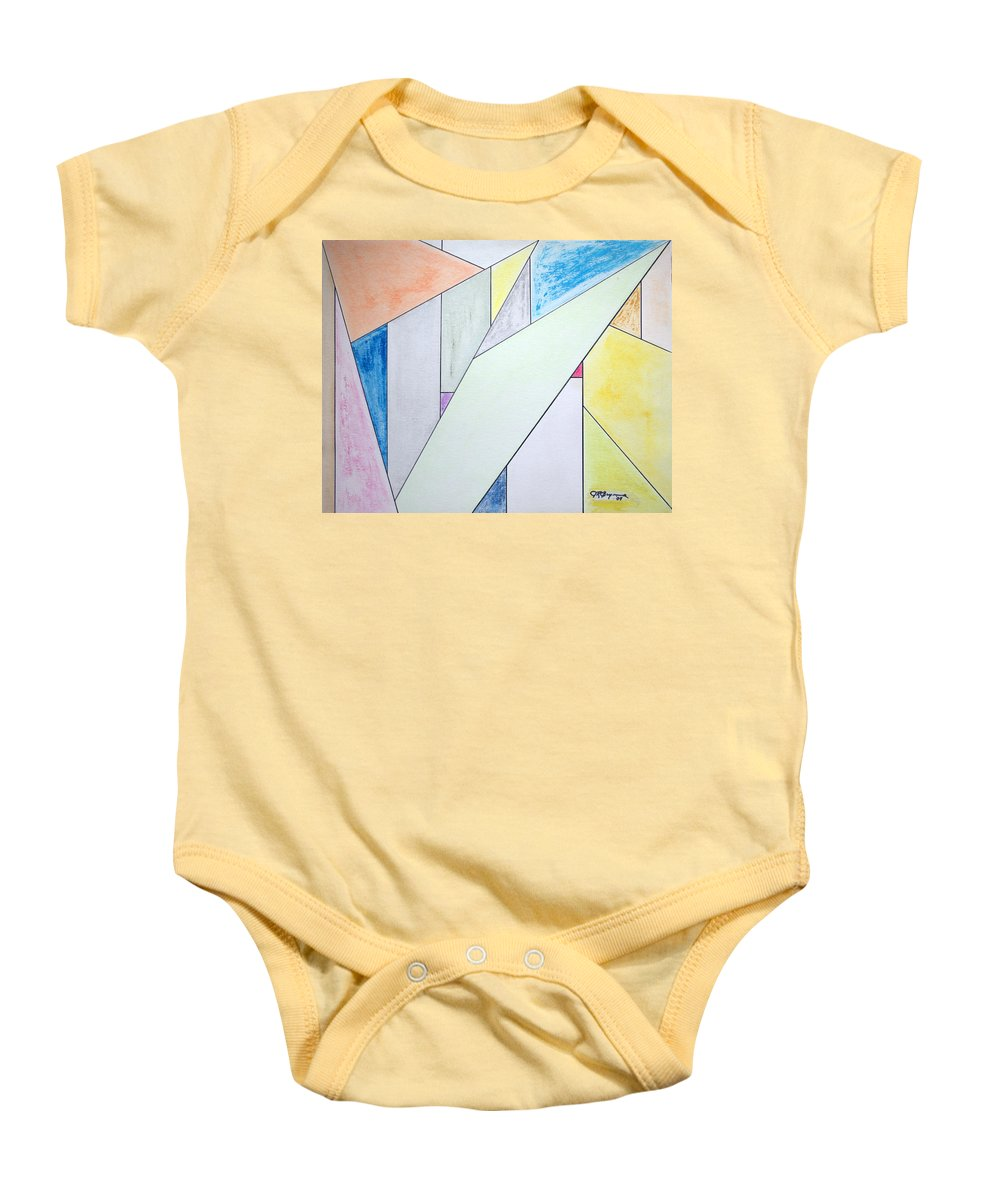 Buildings Baby Onesie featuring the mixed media Glass-scrapers by J R Seymour