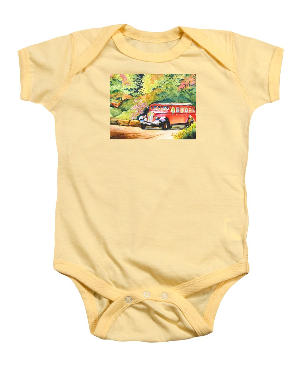 Landscape Baby Onesie featuring the painting Going To The Sun by Karen Stark