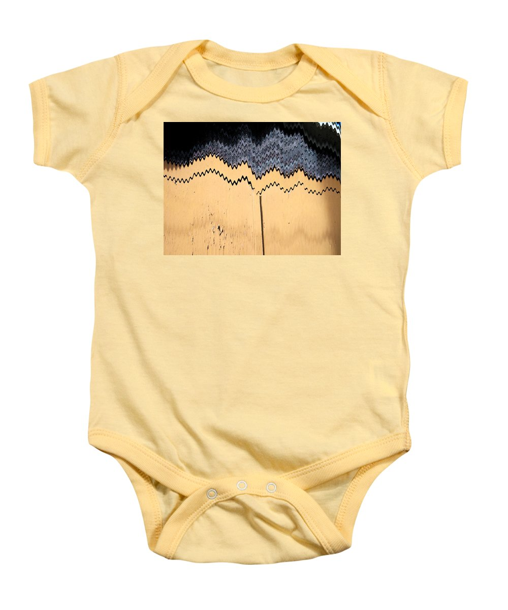 Abstract Baby Onesie featuring the digital art Golden Doors by Lenore Senior
