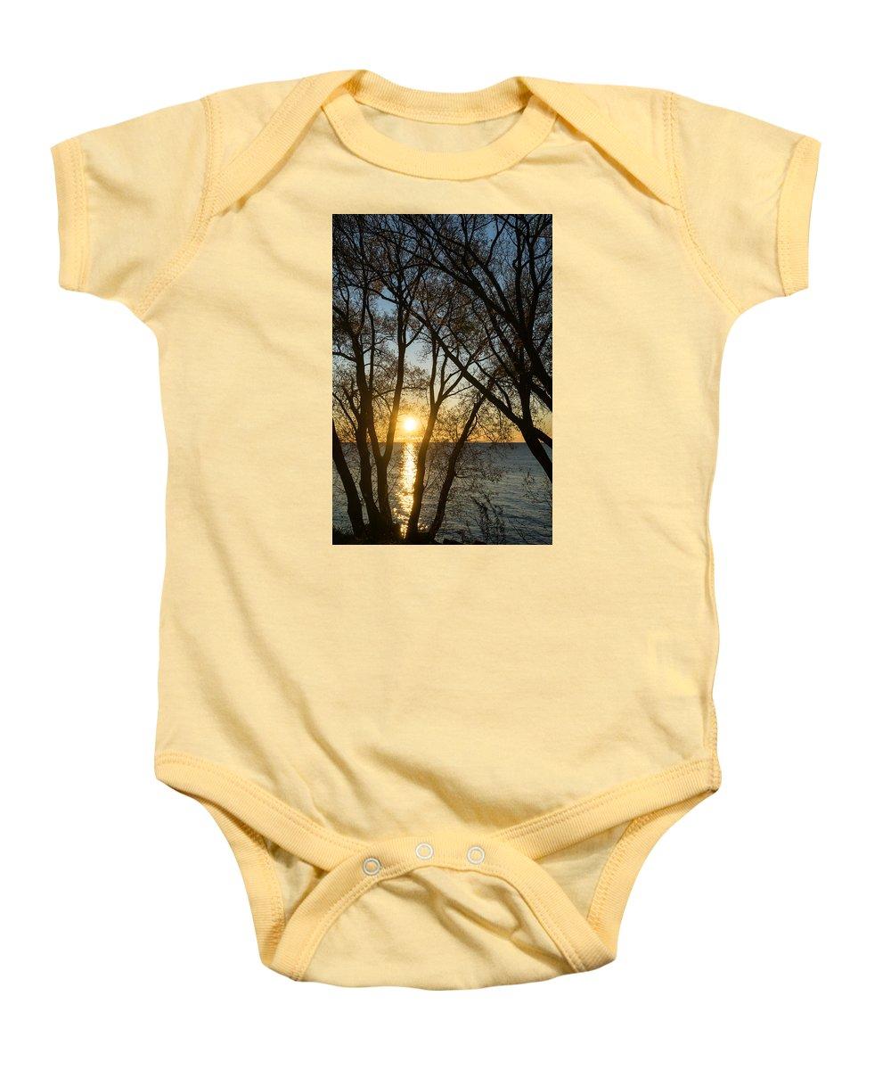 Georgia Mizuleva Baby Onesie featuring the photograph Golden Willow Sunrise - Greeting A Bright Day On The Lake by Georgia Mizuleva