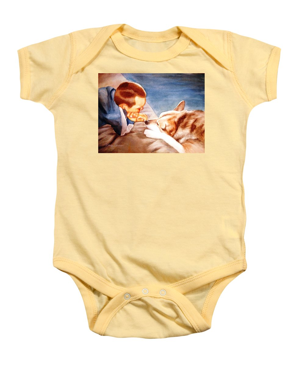 Boy & Dog Baby Onesie featuring the painting Goodbye Misty by Marilyn Jacobson