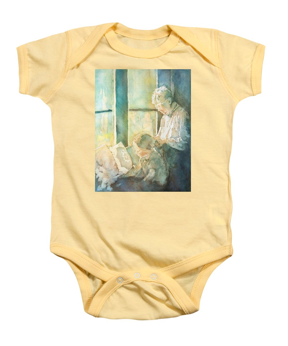 Family Baby Onesie featuring the painting Gramdma Braids by Jenny Armitage