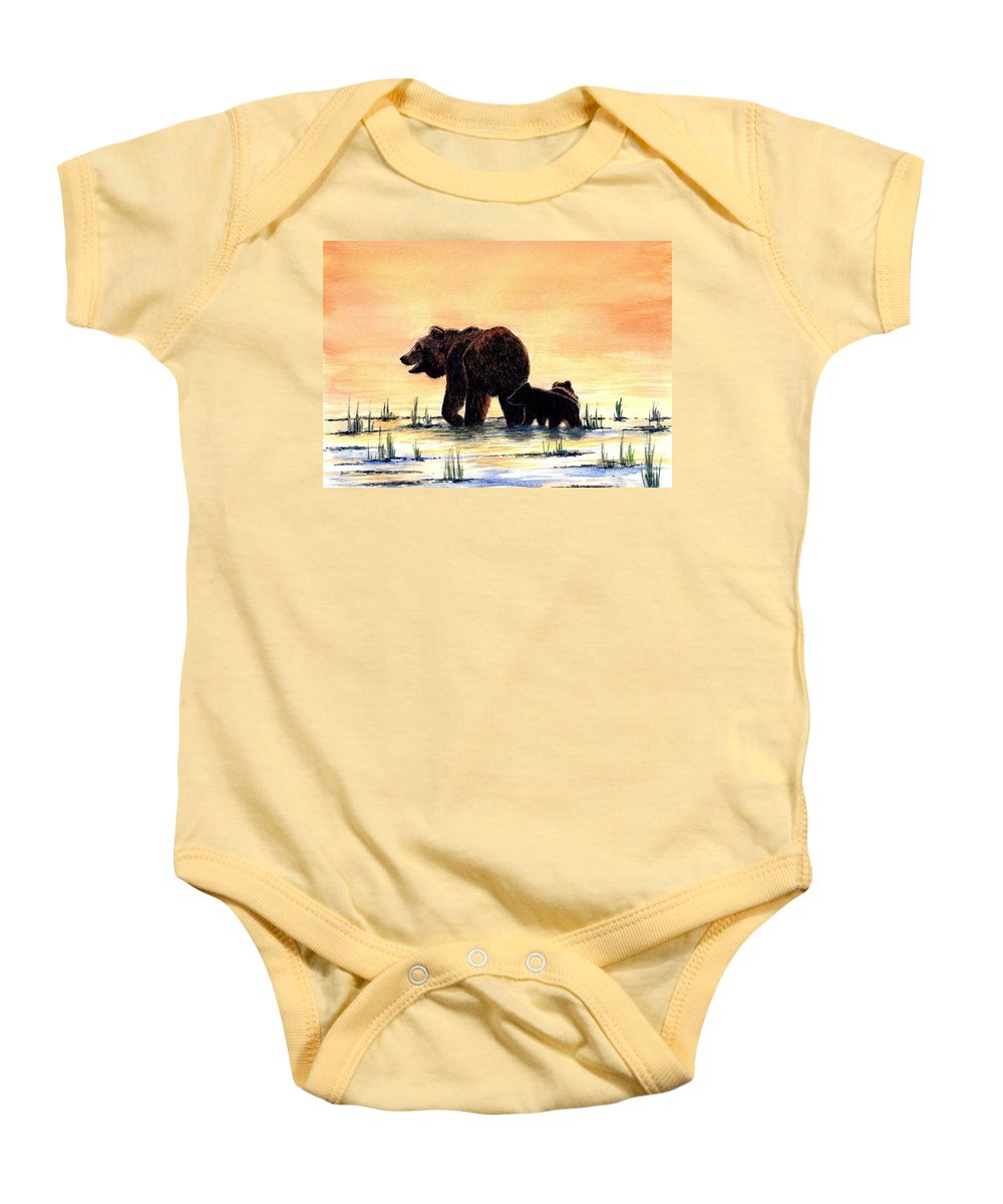 Bears Baby Onesie featuring the painting Grizzly Bears by Michael Vigliotti