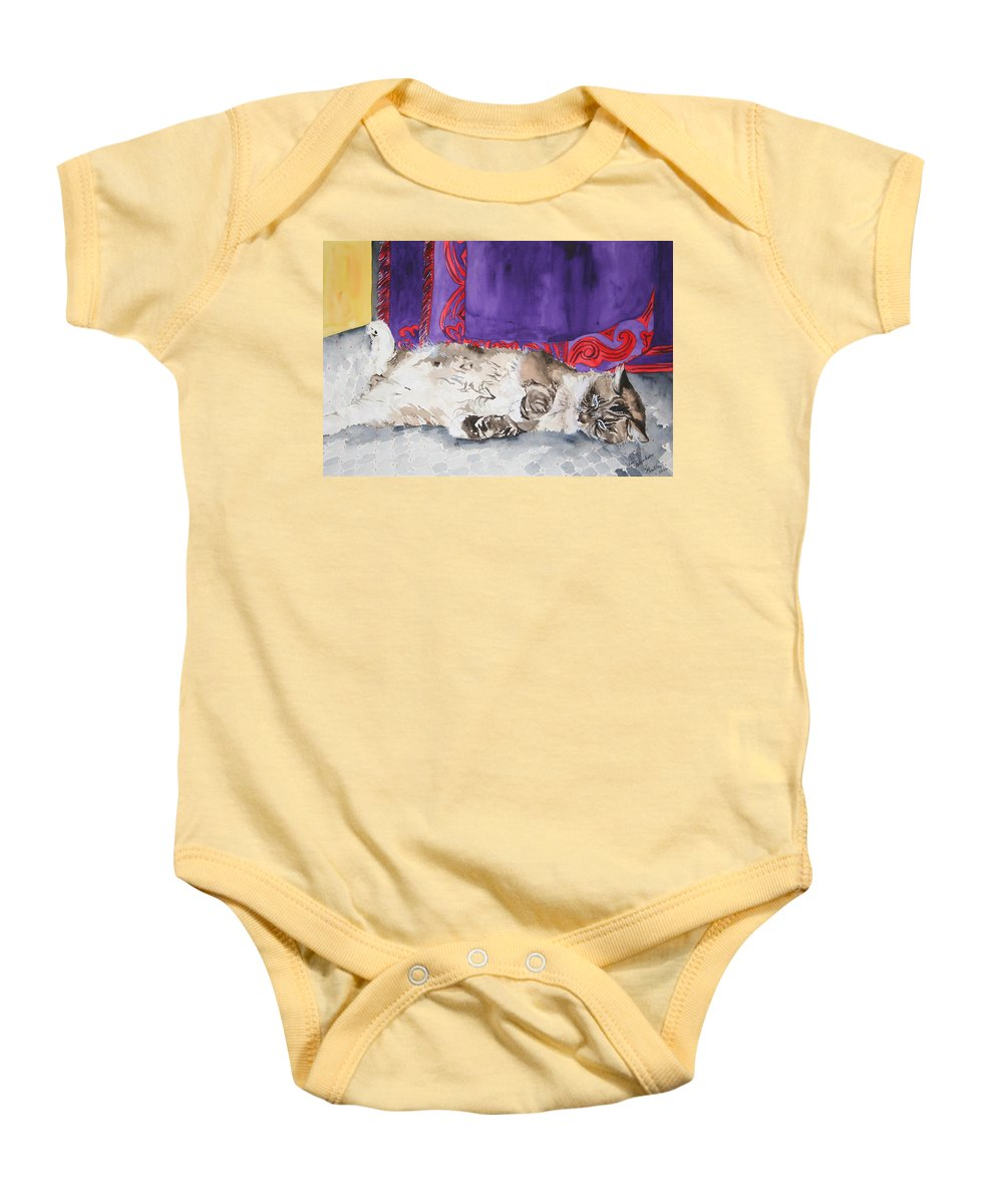 Cat Baby Onesie featuring the painting Guilley by Jean Blackmer