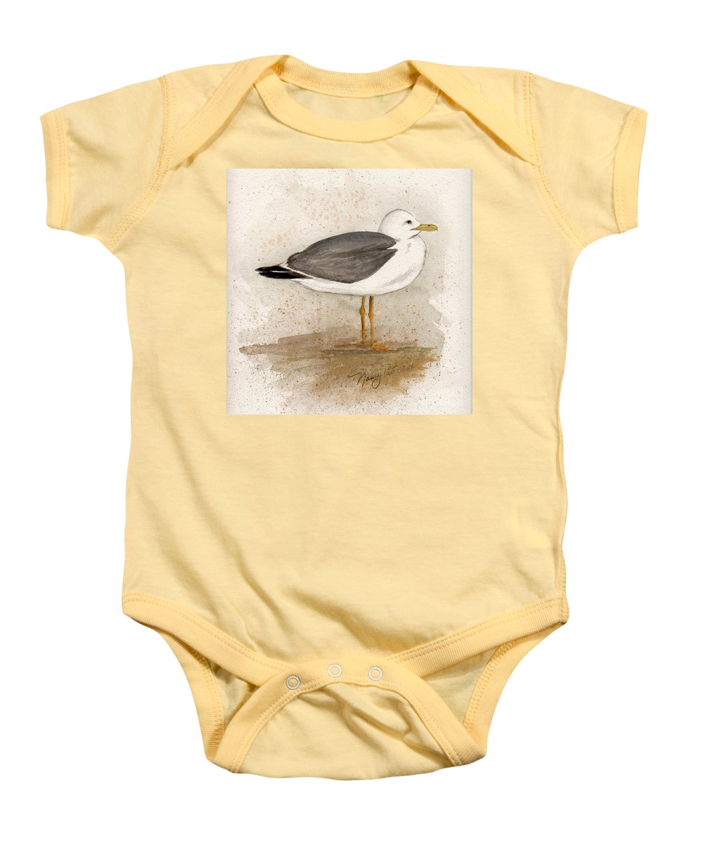 Seagull Baby Onesie featuring the painting Gull by Nancy Patterson