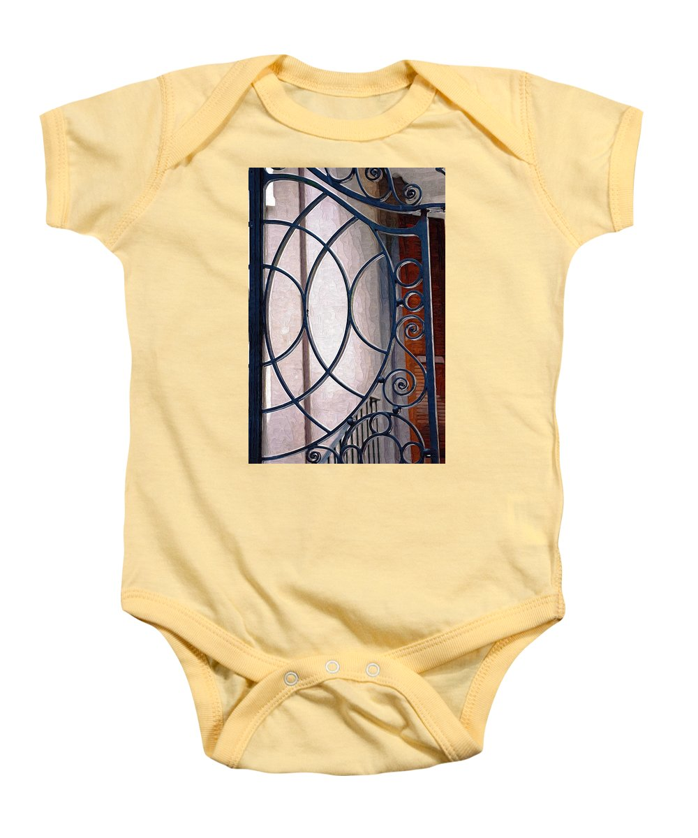 Half Circles Baby Onesie featuring the photograph Half Circles On Iron Gate by Donna Bentley