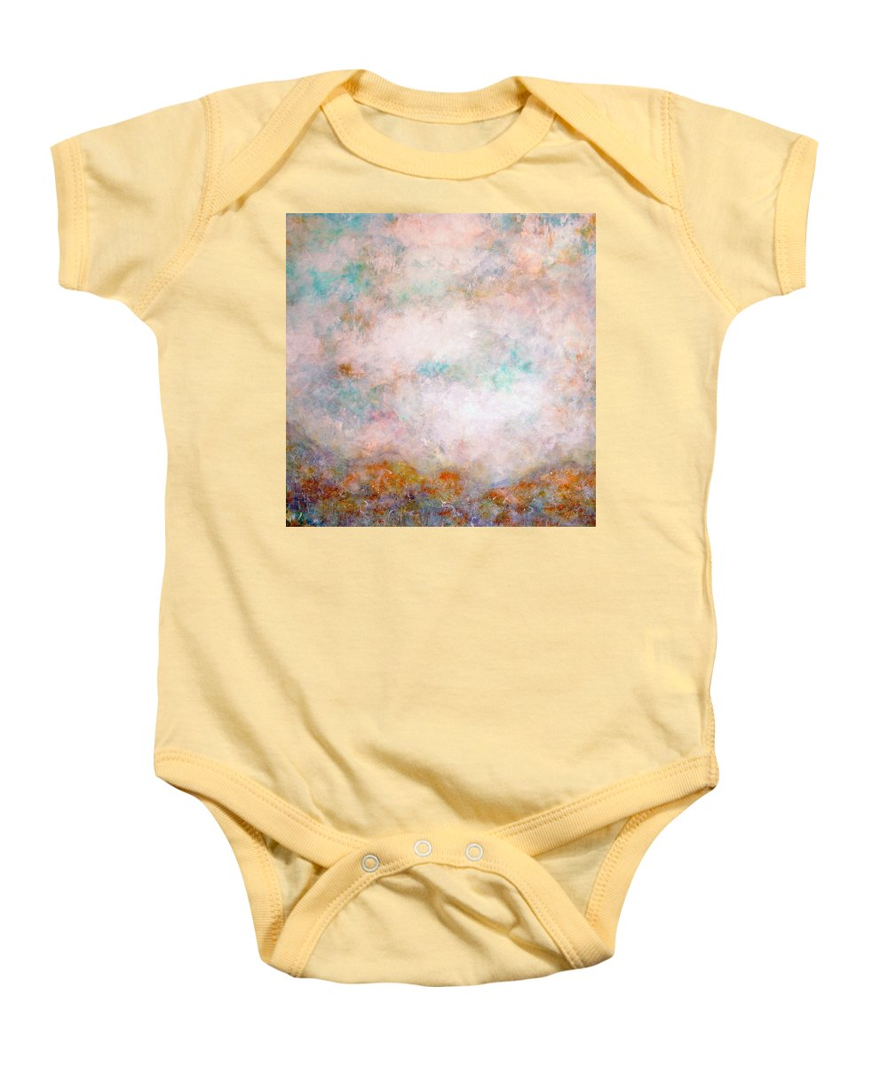 Clouds Baby Onesie featuring the painting Happy Dancing Clouds by Natalie Holland