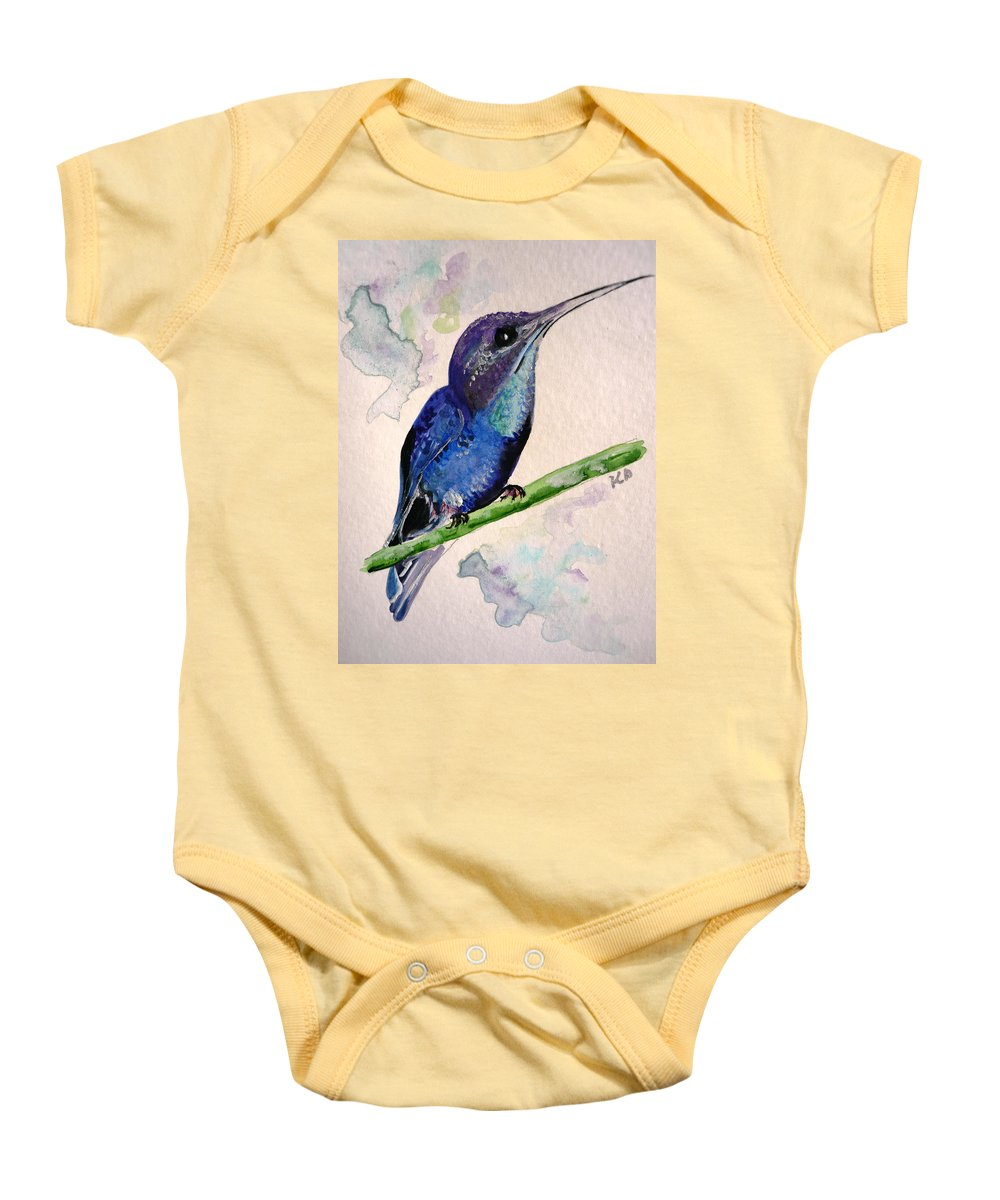 Hummingbird Painting Bird Painting Tropical Caribbean Painting Watercolor Painting Baby Onesie featuring the painting hHUMMINGBIRD 2  by Karin Dawn Kelshall- Best