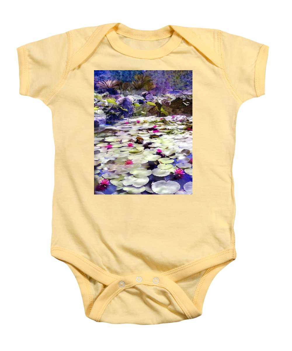 Lotus Baby Onesie featuring the photograph Hidden Pond Lotusland by Kurt Van Wagner
