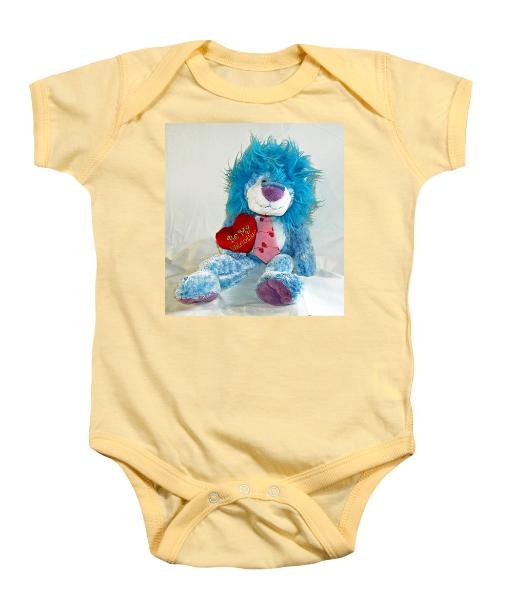 Love; Hope; Hoping; Man; Male; Lion; Blue; Stuffed; Animal; Heart; Valentine; Hopeful; Lover; Suitor Baby Onesie featuring the photograph Hoping For Love by Allan Hughes