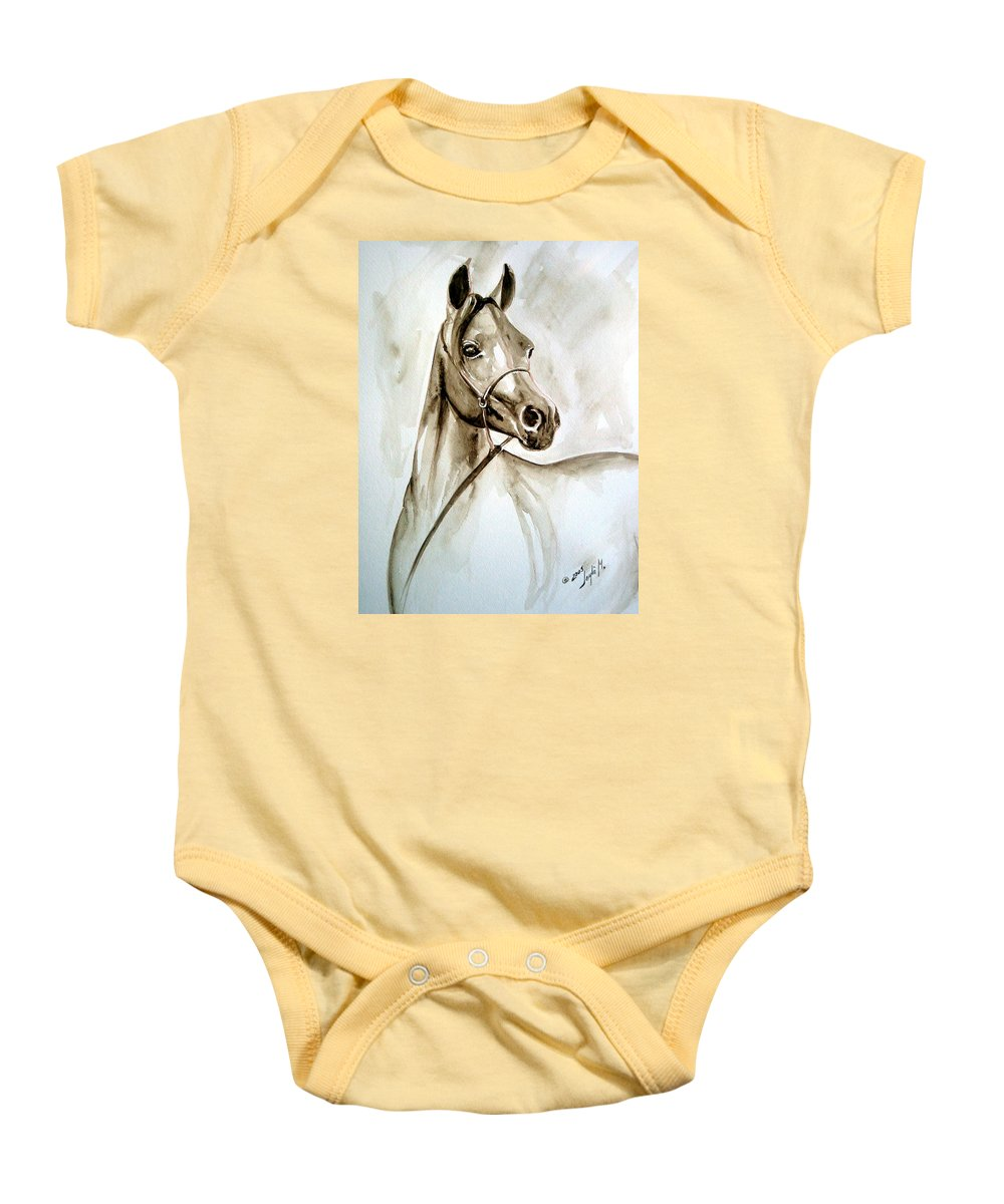 Portrait Of A Horse Baby Onesie featuring the painting Horse by Leyla Munteanu