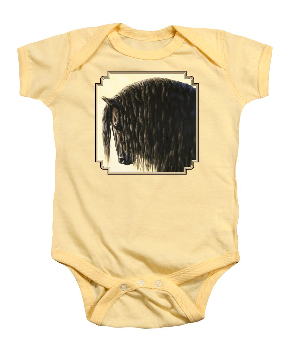 Horse Baby Onesie featuring the painting Horse Painting - Friesland Nobility by Crista Forest