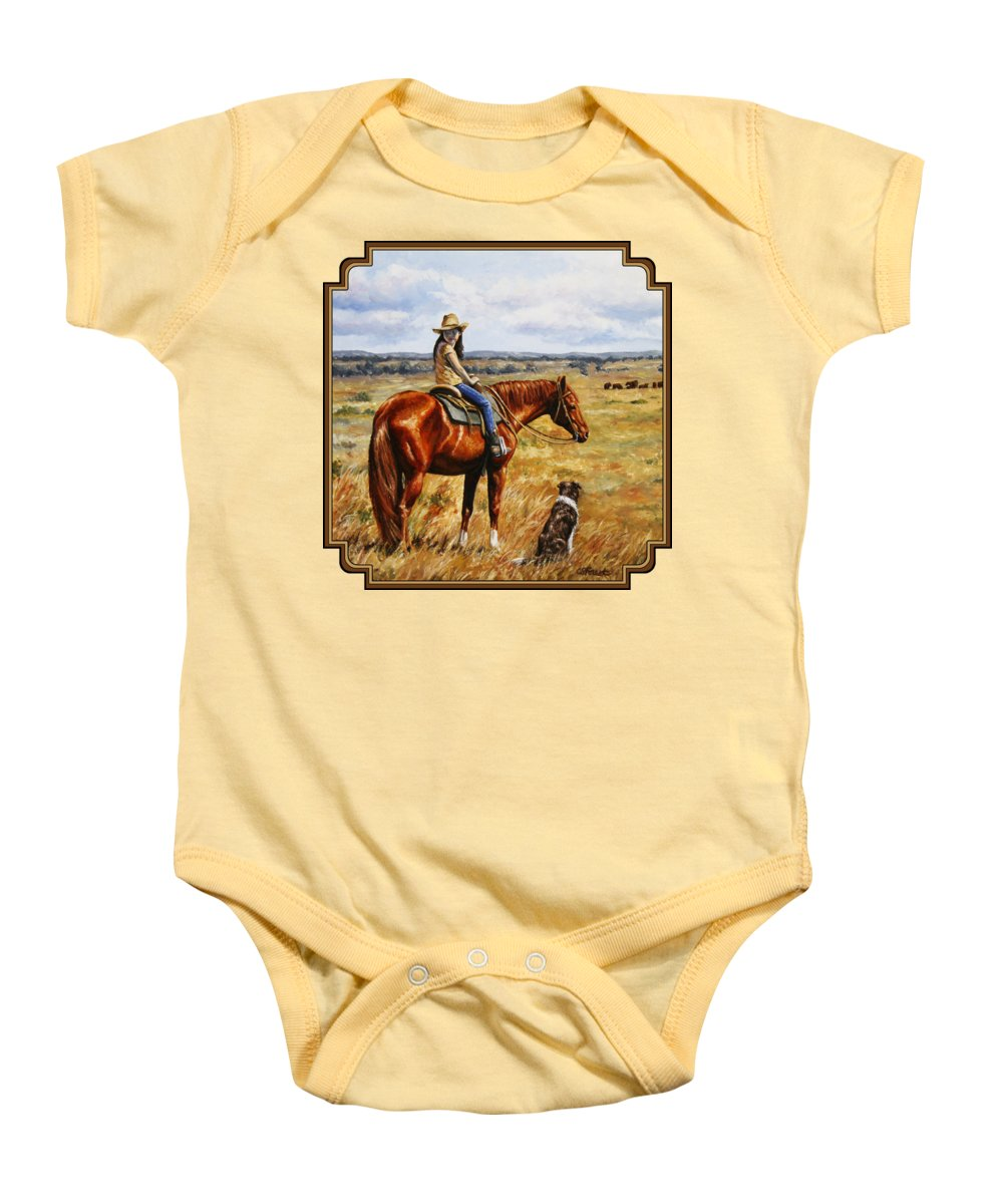 Western Baby Onesie featuring the painting Horse Painting - Waiting For Dad by Crista Forest