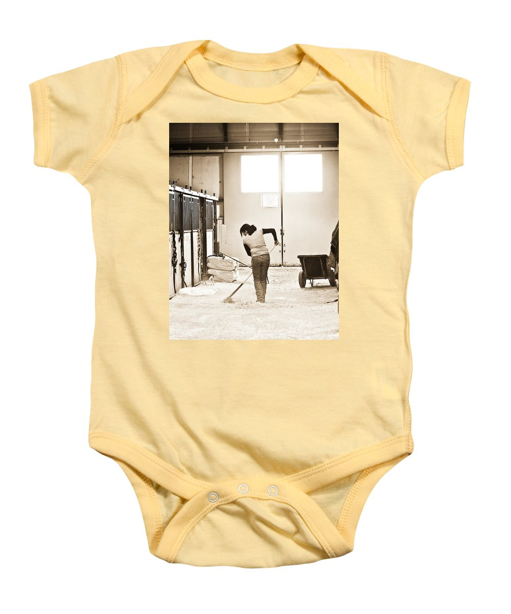 Horse Baby Onesie featuring the photograph Horse Work by Marilyn Hunt