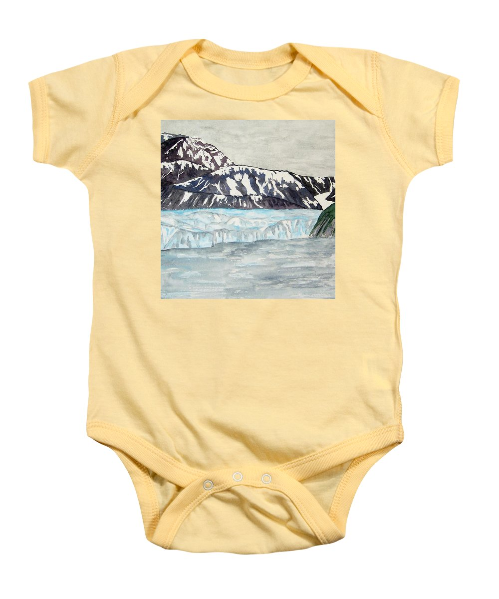 Glacier Baby Onesie featuring the painting Hubbard Glacier In July by Larry Wright