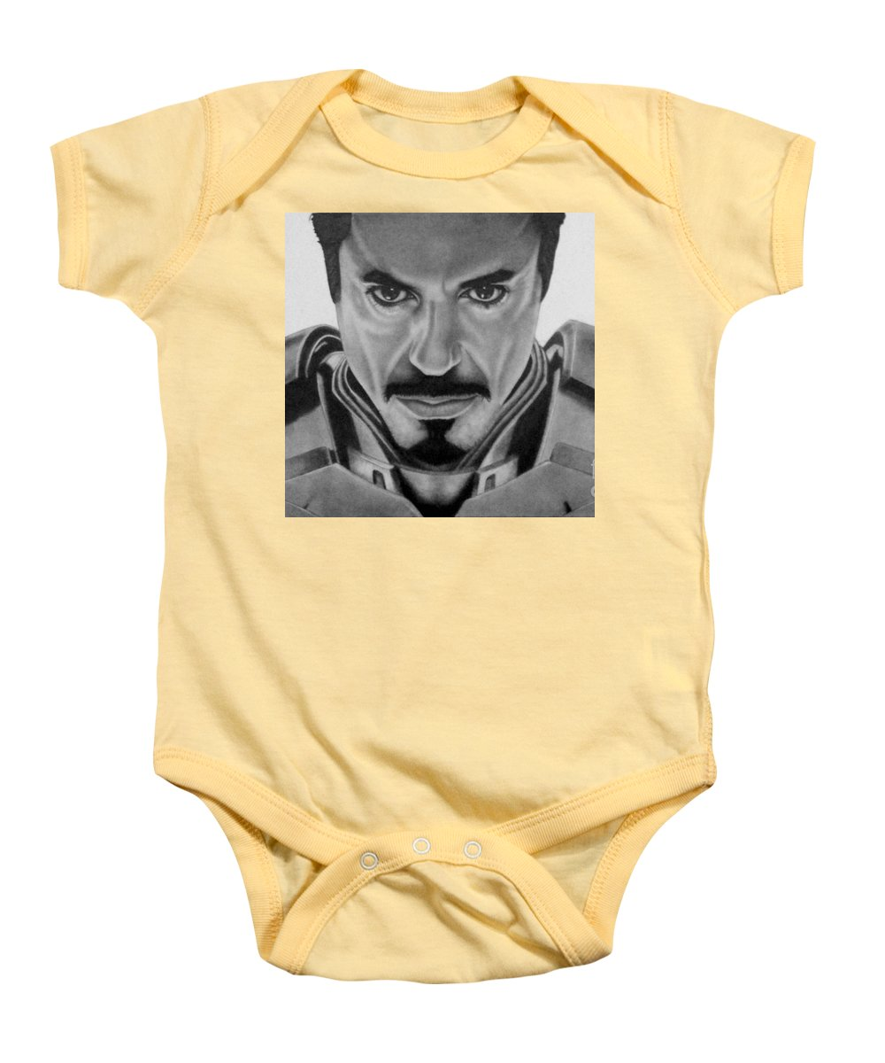 Pencil Baby Onesie featuring the drawing I Am Iron Man by Stacy Taylor