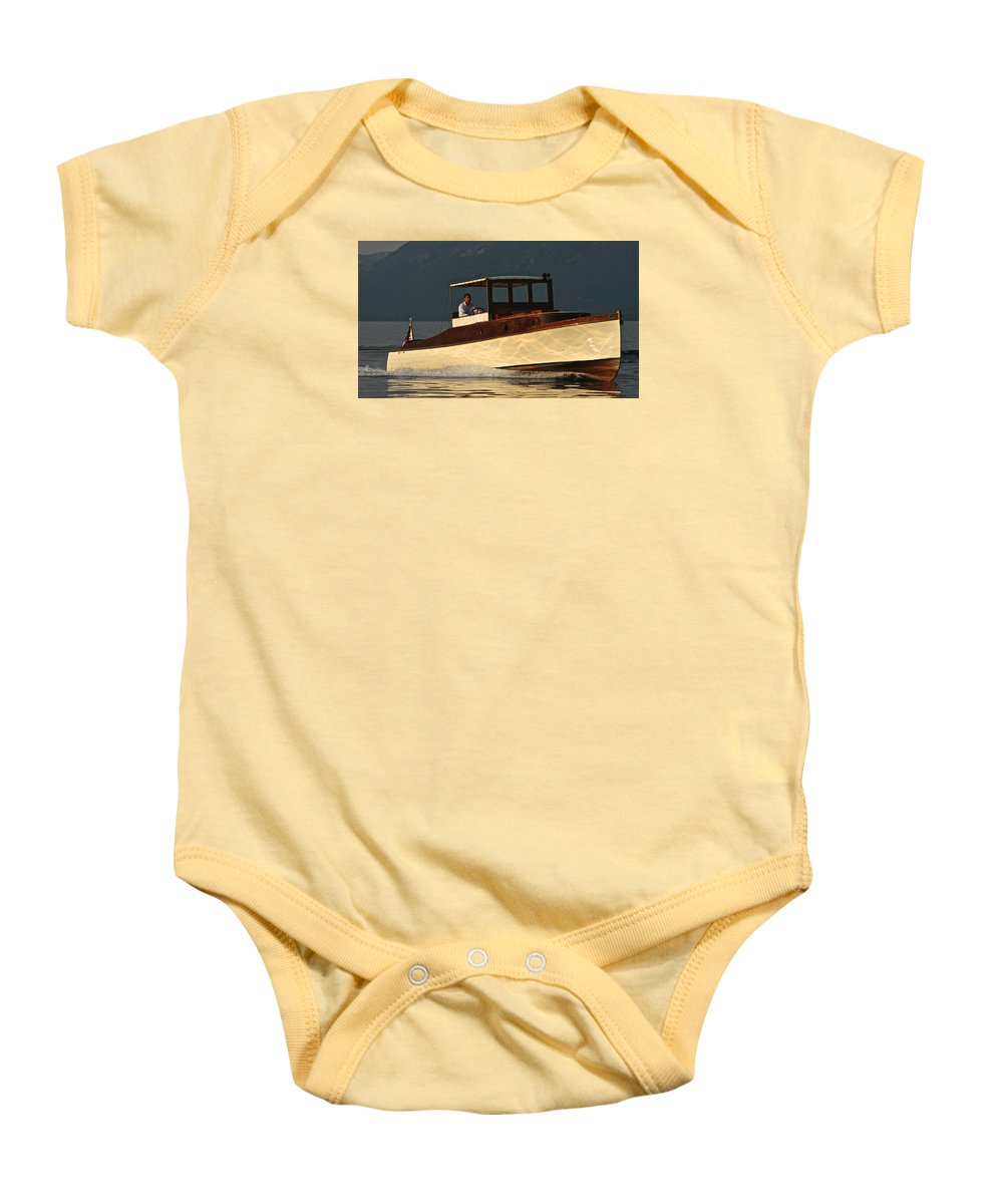 Tahoe Baby Onesie featuring the photograph Iconic Wooden Runabout by Steven Lapkin