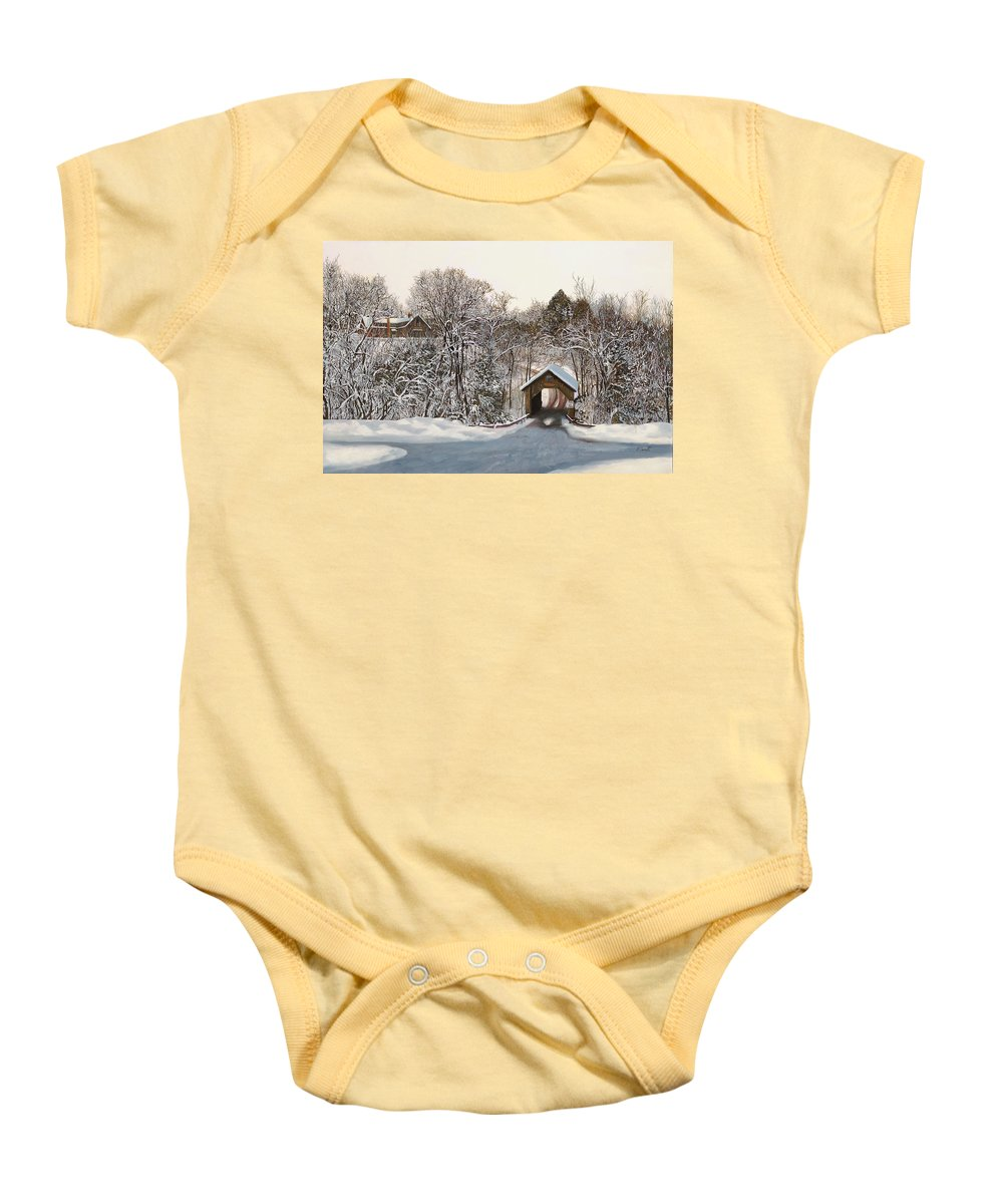 Stowe Baby Onesie featuring the painting Il Ponte Coperto Di Legno by Guido Borelli