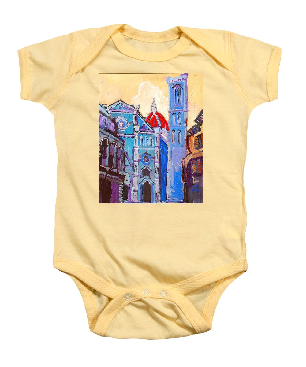 Florence Baby Onesie featuring the painting In The Middle Of by Kurt Hausmann