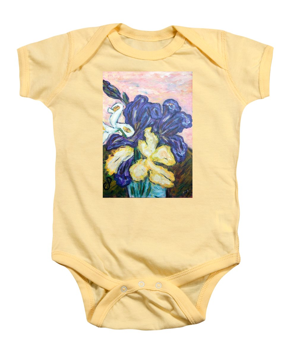 Iris Baby Onesie featuring the painting Iris Still Life by Carolyn Donnell