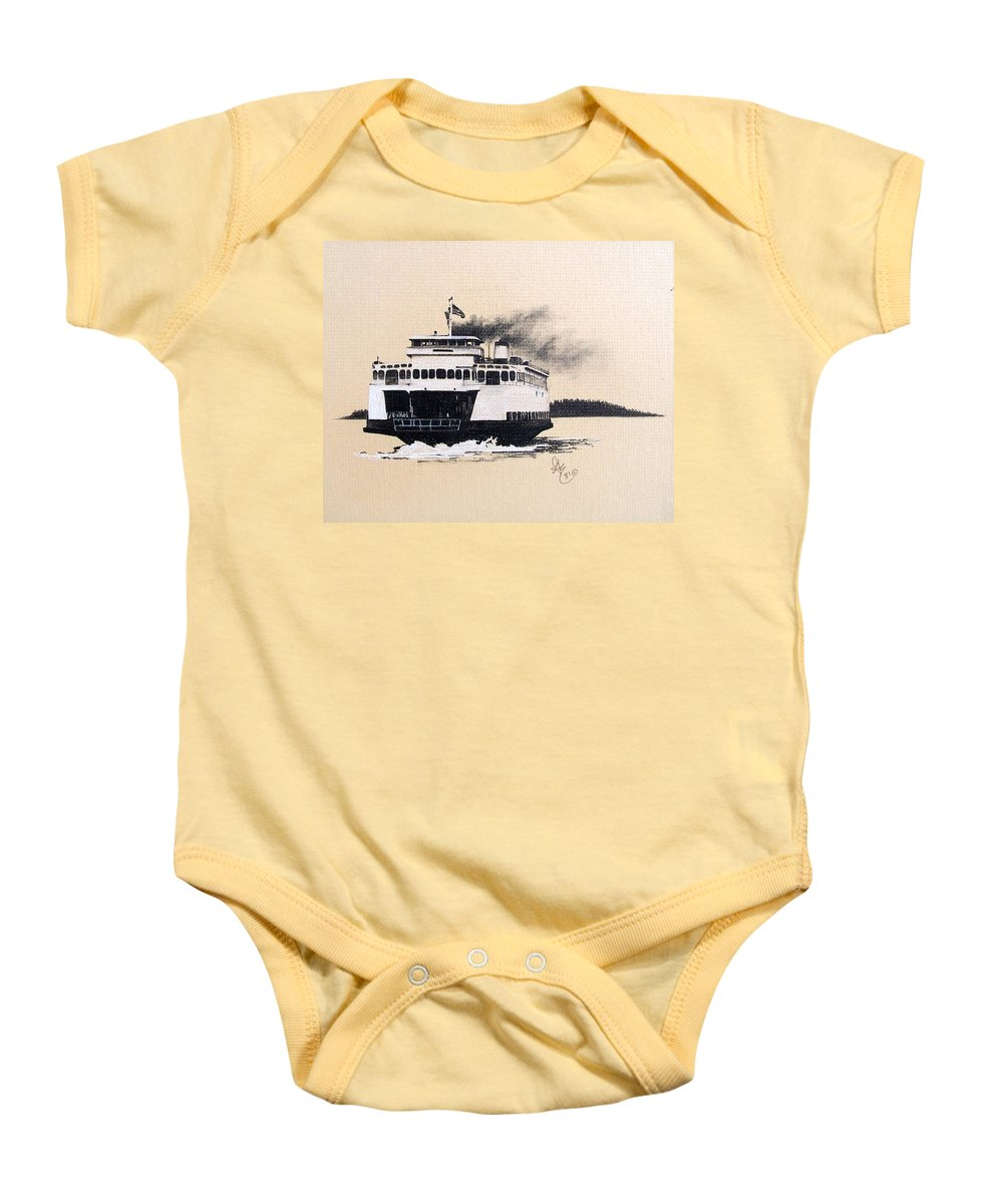 Ferry Baby Onesie featuring the pastel Issaquah by Gale Cochran-Smith