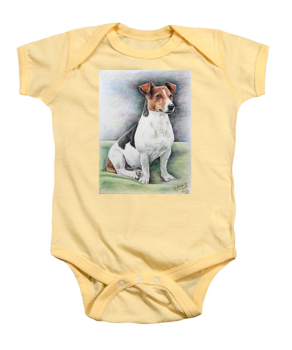 Dog Baby Onesie featuring the drawing Jack Russell Terrier by Nicole Zeug
