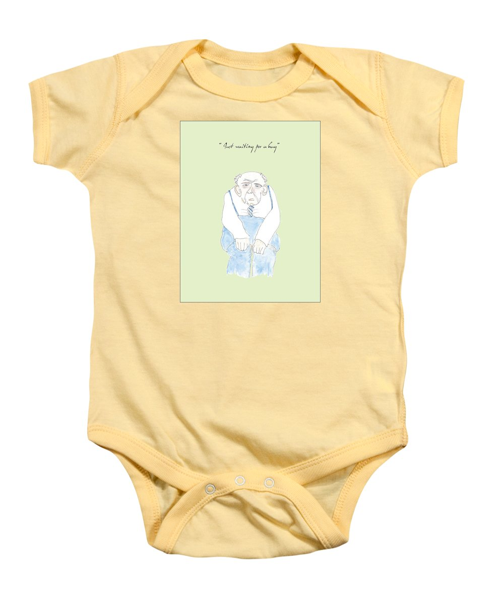 Humor Baby Onesie featuring the drawing Just Waiting For A Hug by Heather Hennick