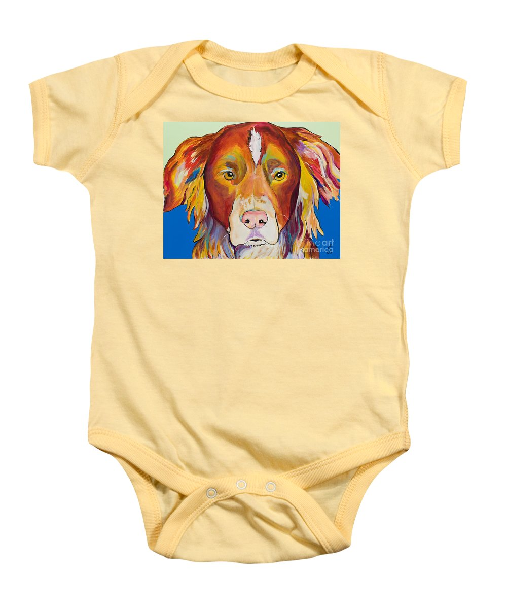Australian Border Collie Baby Onesie featuring the painting Keef by Pat Saunders-White