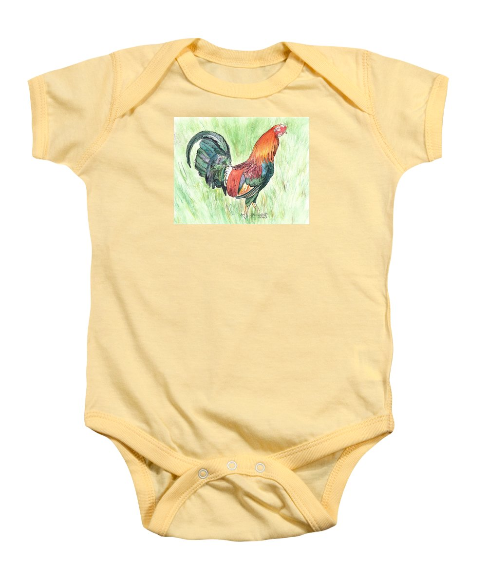 Roosters Baby Onesie featuring the painting Kokee Rooster by Marionette Taboniar
