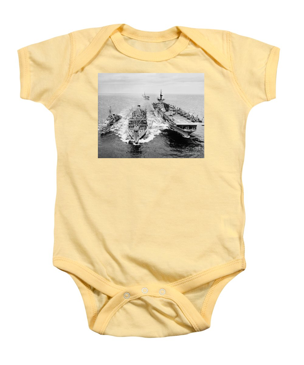 1953 Baby Onesie featuring the photograph Korean War: Ship Refueling by Granger