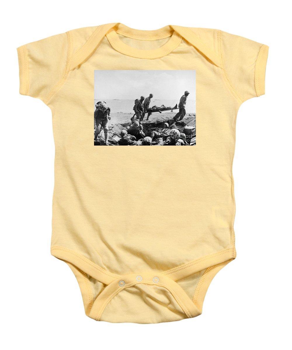1950 Baby Onesie featuring the photograph Korean War: Wounded by Granger