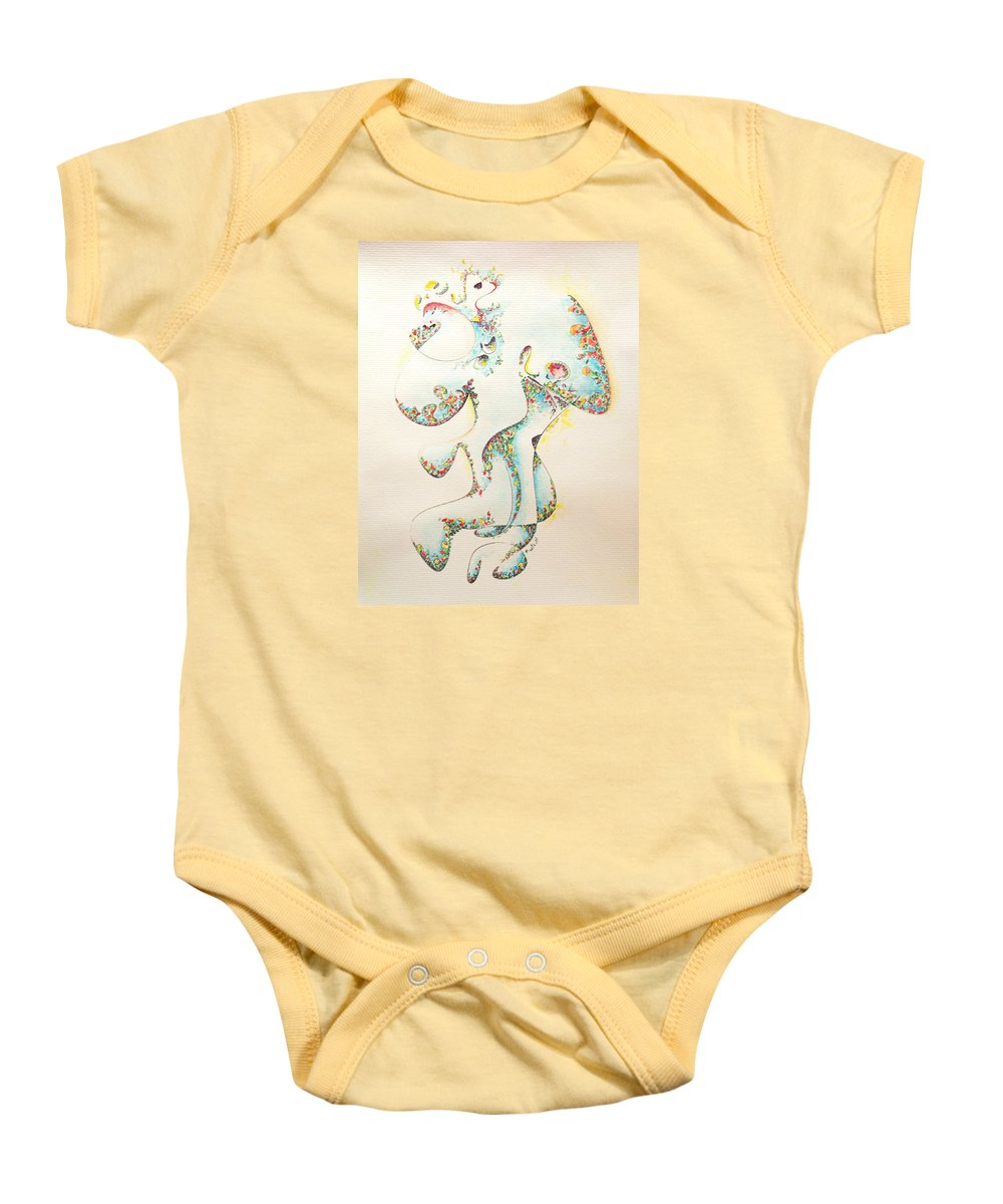 Fertility Baby Onesie featuring the painting Lapis Lazuli Bejeweled Fertility Goddess by Dave Martsolf