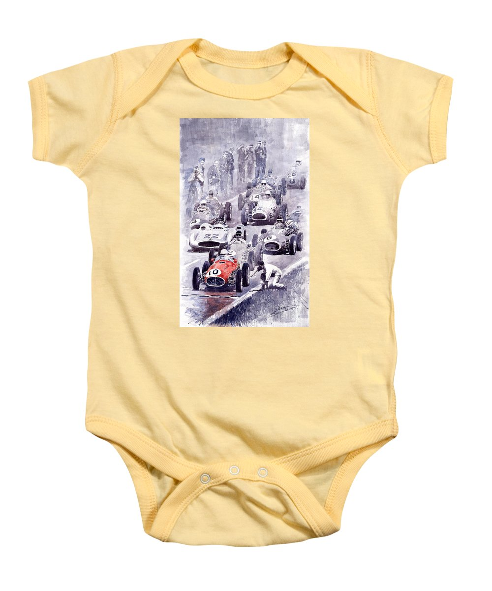 Auto Baby Onesie featuring the painting Last Control Maserati 250 F France Gp 1954 by Yuriy Shevchuk