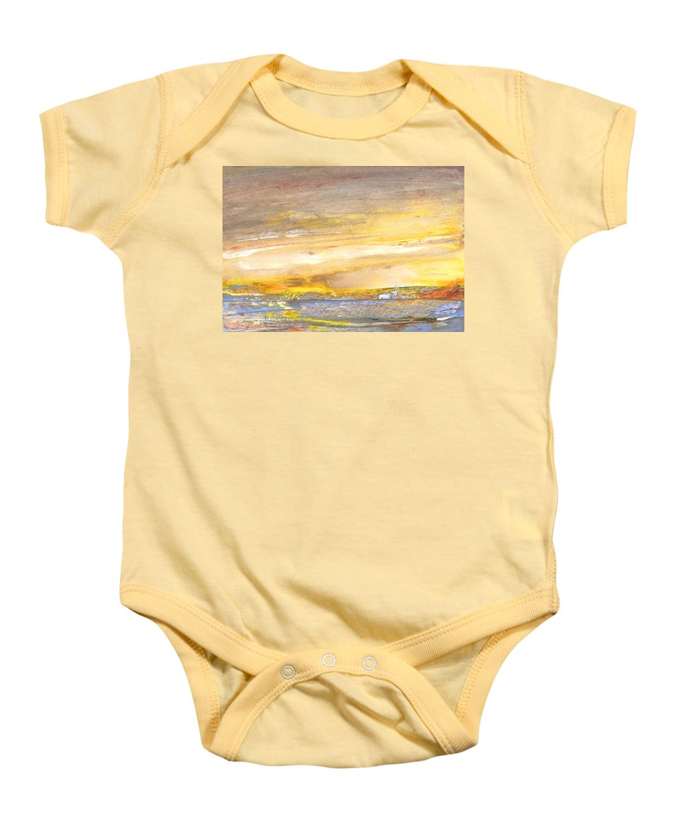 Watercolour Landscape Baby Onesie featuring the painting Late Afternoon 26 by Miki De Goodaboom