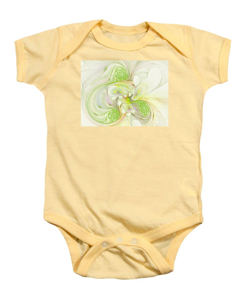 Digital Baby Onesie featuring the digital art Lemon Lime Curly by Deborah Benoit