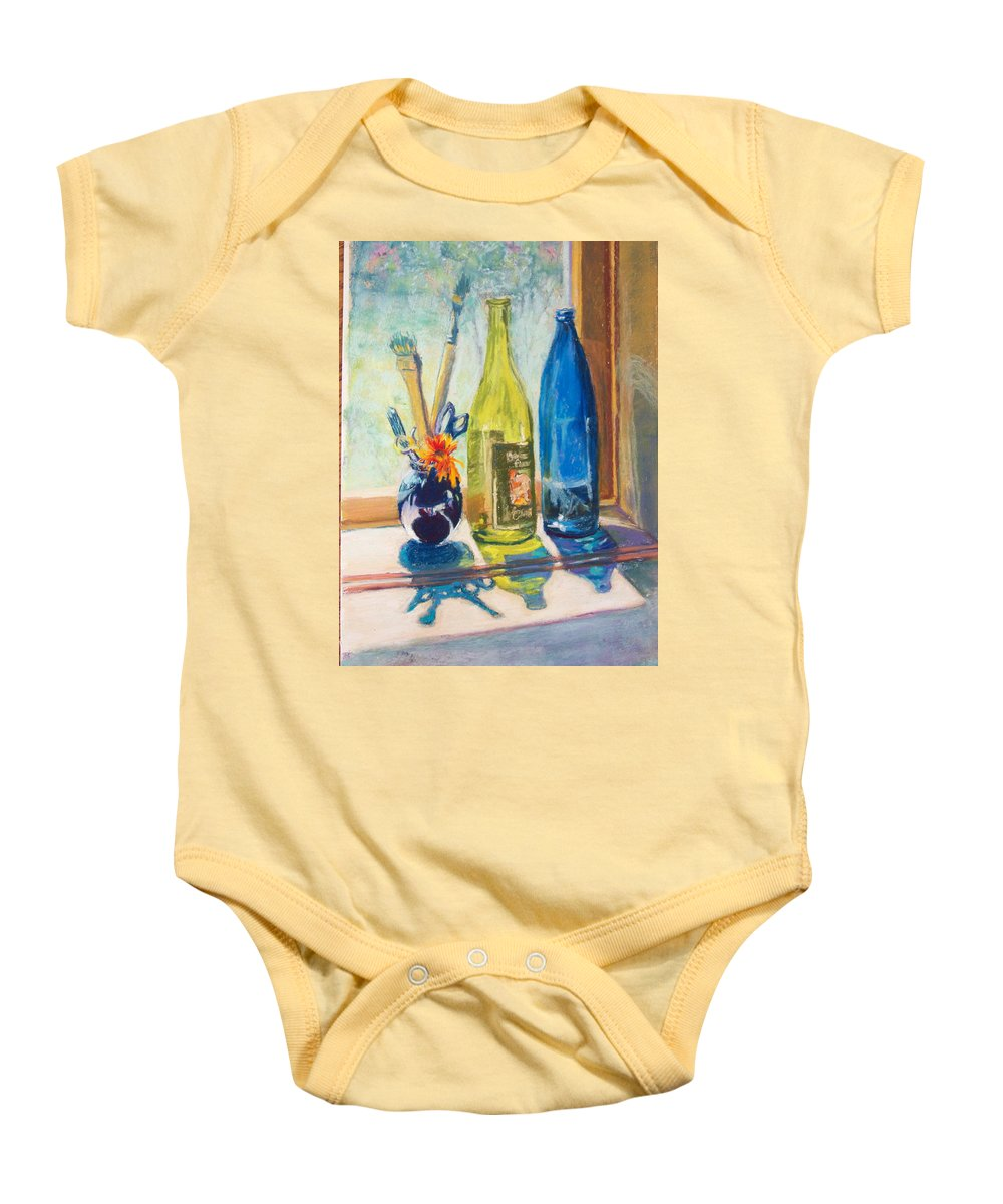 Bottles Baby Onesie featuring the painting Light And Bottles by Laurie Paci