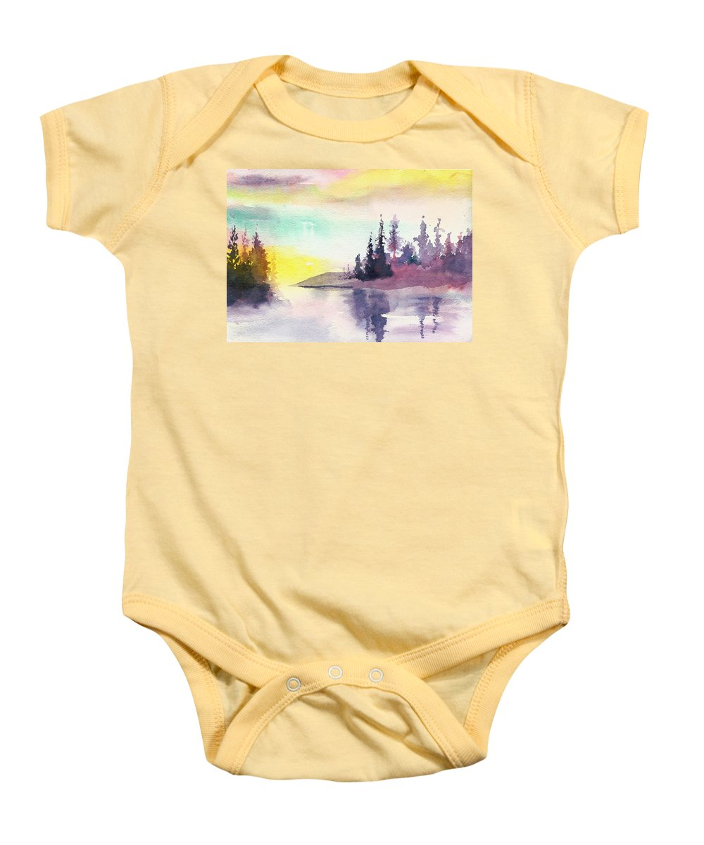 River Baby Onesie featuring the painting Light N River by Anil Nene