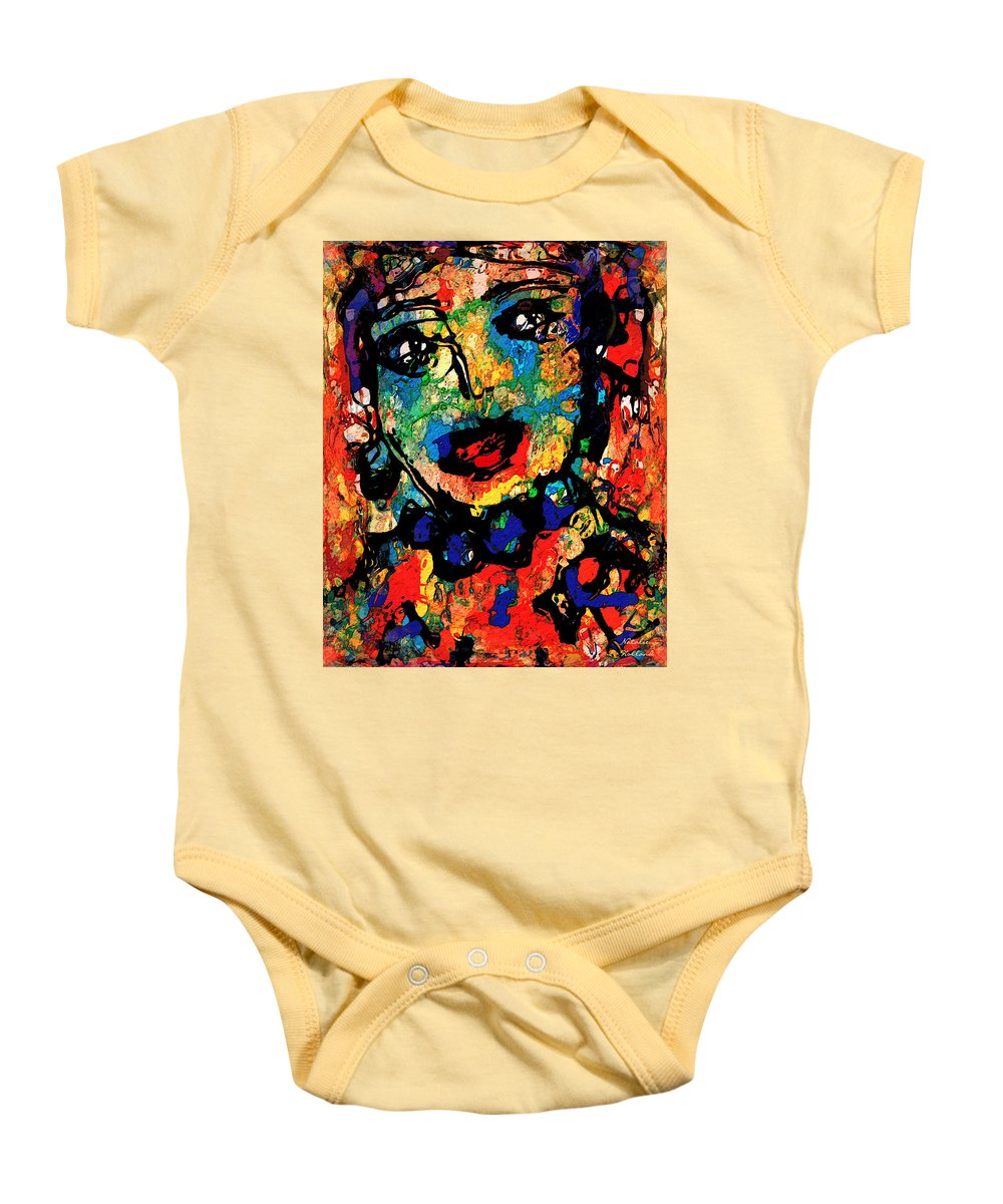 Portrait Baby Onesie featuring the mixed media Lilyana by Natalie Holland