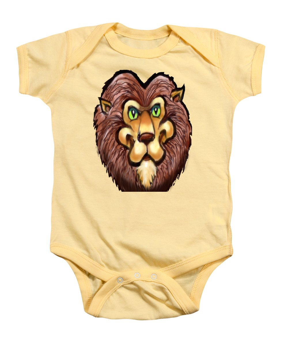 Lion Baby Onesie featuring the painting Lion by Kevin Middleton