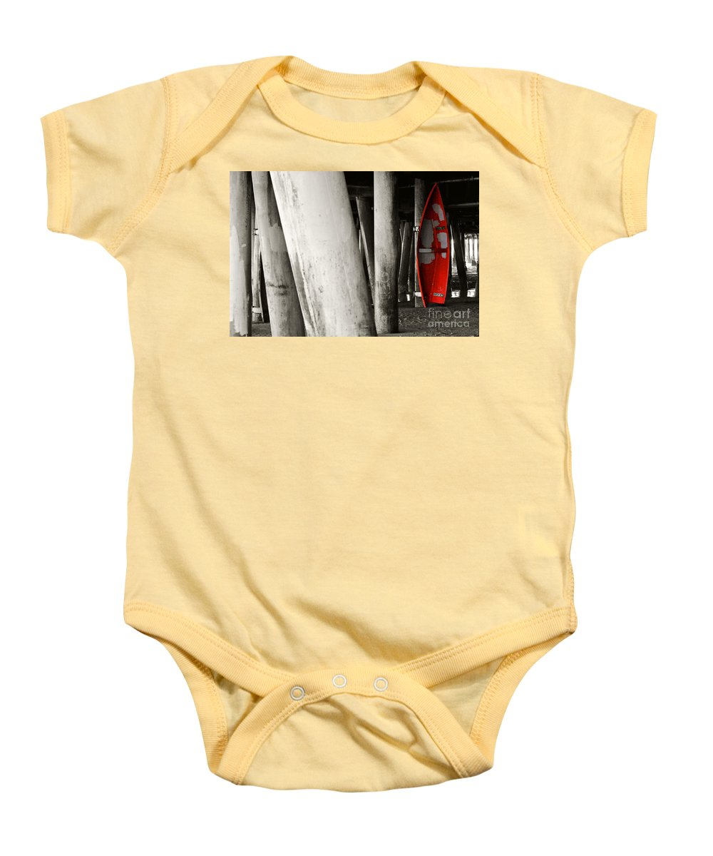 Clay Baby Onesie featuring the photograph Little Red Boat II Re-edit by Clayton Bruster