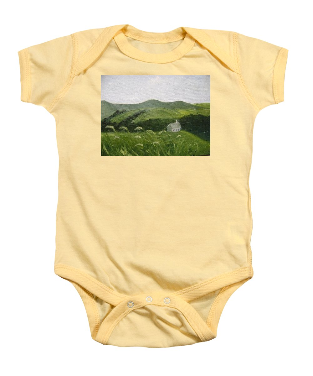 Landscape Baby Onesie featuring the painting Little Schoolhouse On The Hill by Toni Berry