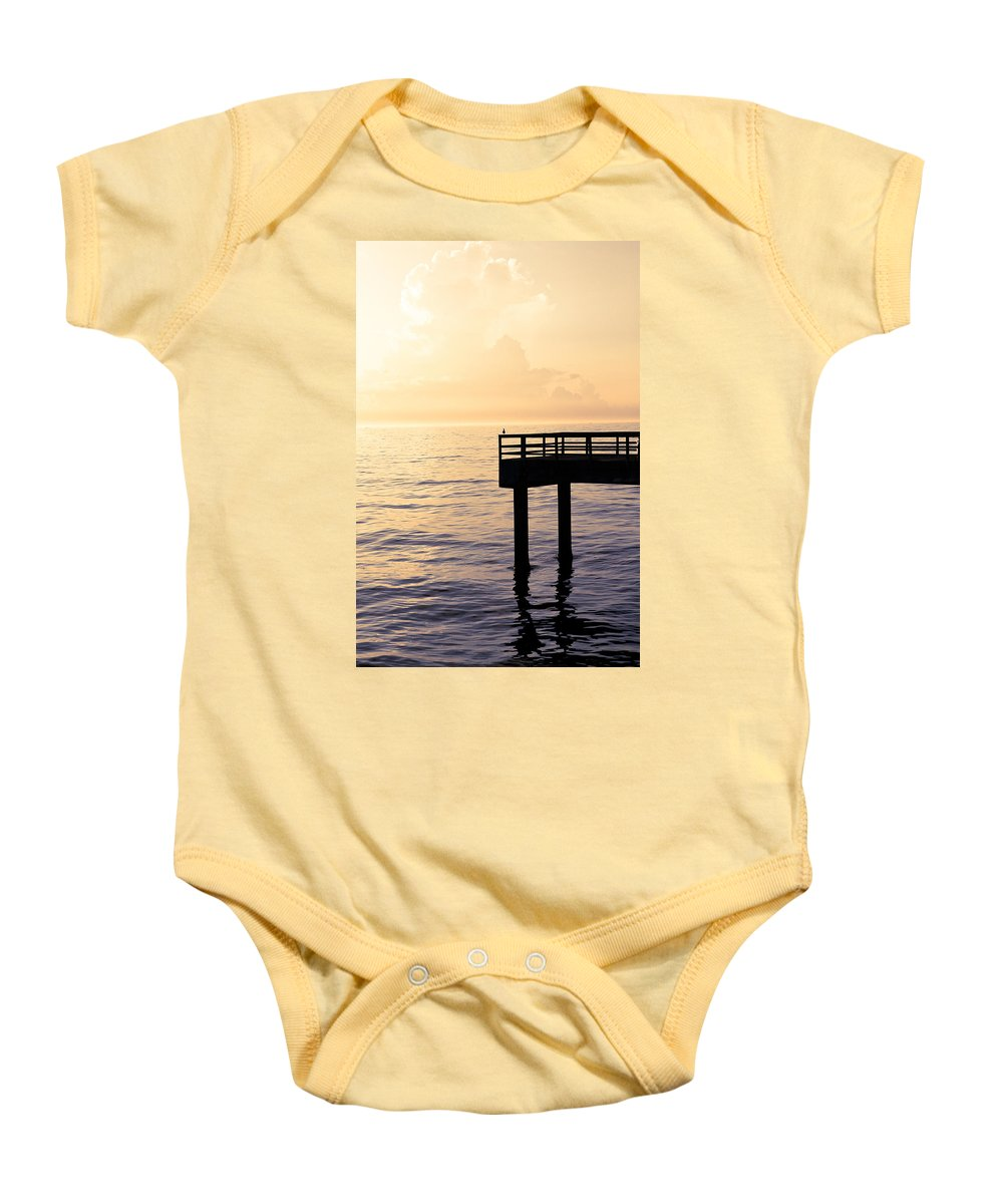 Beach Baby Onesie featuring the photograph Lone Bird At Morning by Marilyn Hunt