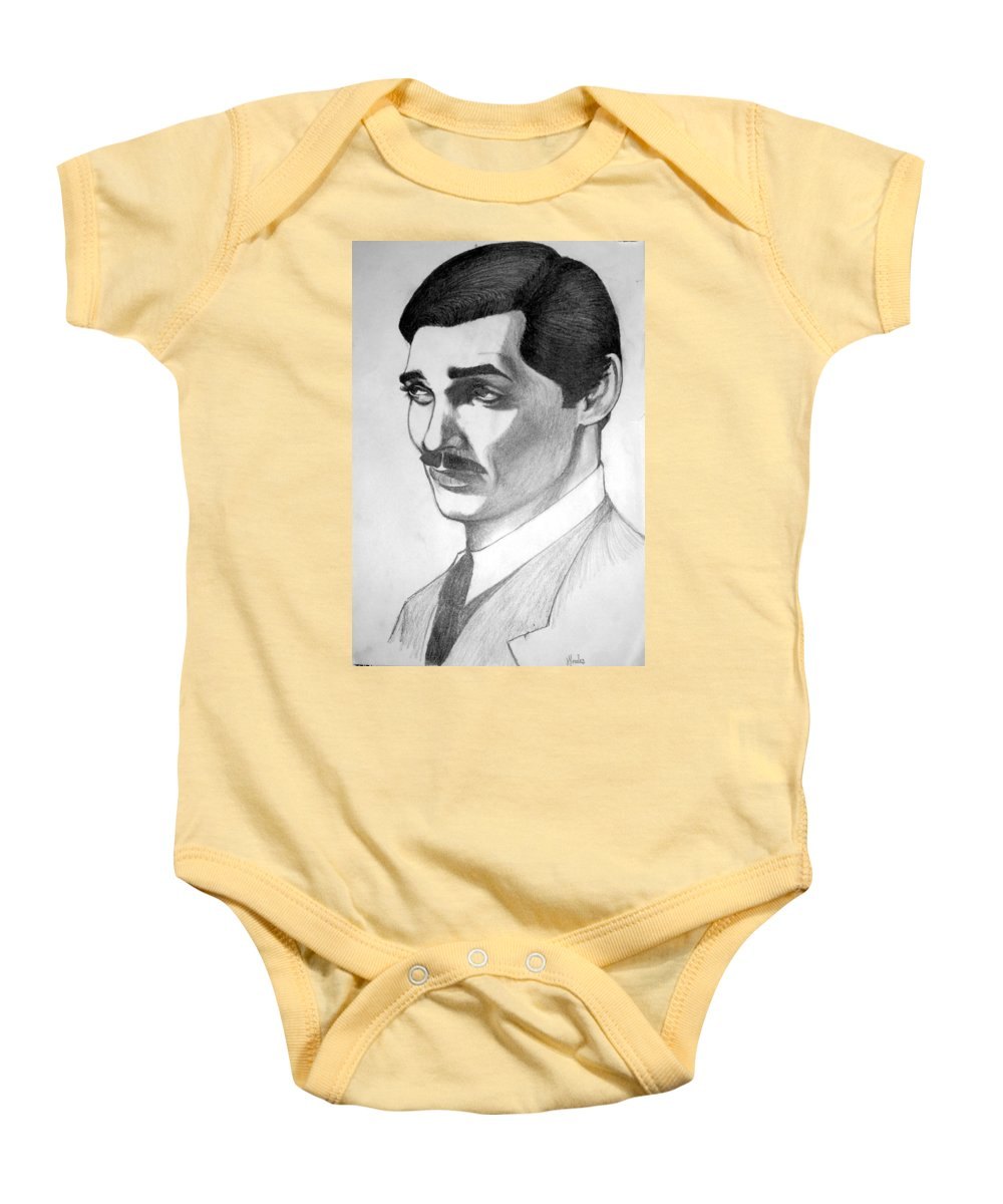 Portrait Baby Onesie featuring the drawing Long Live The King by Marco Morales