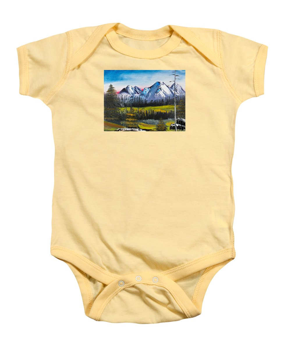 Landscape Baby Onesie featuring the painting Love Can Move Mountains by David Martin