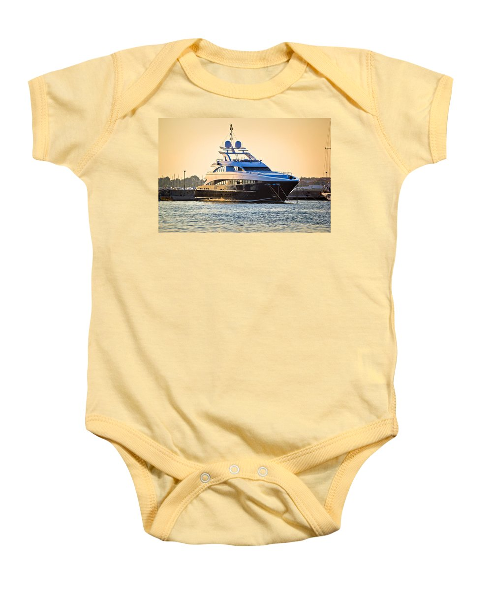 Vessel Baby Onesie featuring the photograph Luxury Yacht On Golen Sunset by Brch Photography