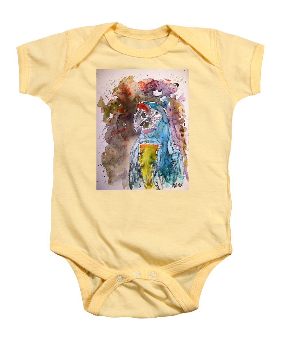 Parrot Baby Onesie featuring the painting Macaw Parrot by Derek Mccrea